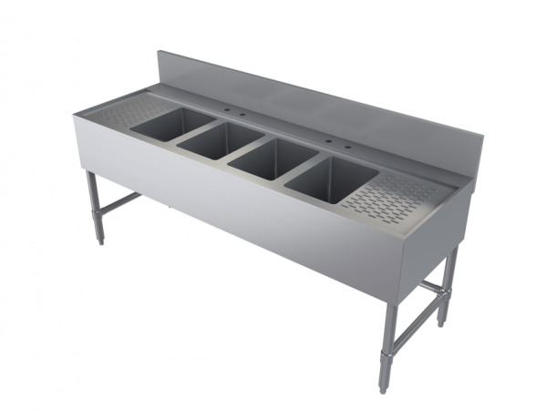 """Bar Sink, Four Compartment, 72"""" x 24"""""""