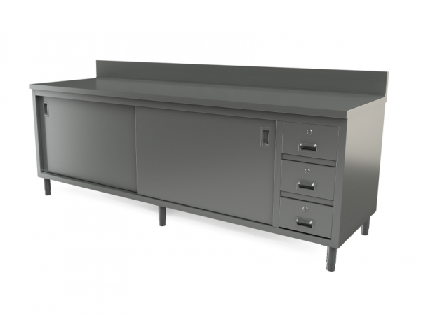 "Utility cabinet with backsplash, 96"" x 30"""